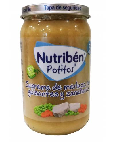 Nutriben Potitos Suprema De Merluza Con Guisantes Y Zanahoria 235 Gr