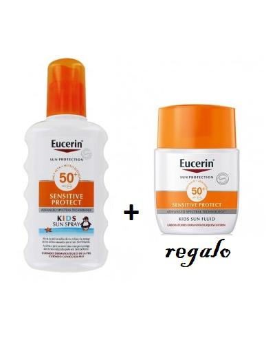 Pack Eucerin sun spray infantil FPS50+ con fluido de regalo