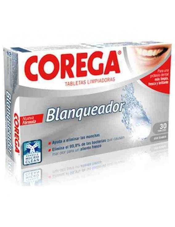 Corega pastillas limpieza de prótesis dentales blanqueador 30 unid