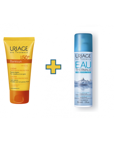 uriage bariesun crema spf 50+ 50 ml + aga thermal de regalo